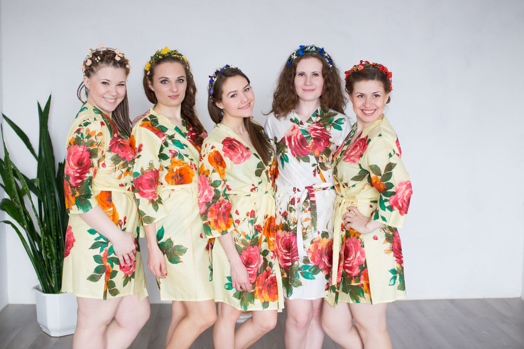 Light Yellow Large Floral Blossom Robes for bridesmaids | Getting Ready Bridal Robes