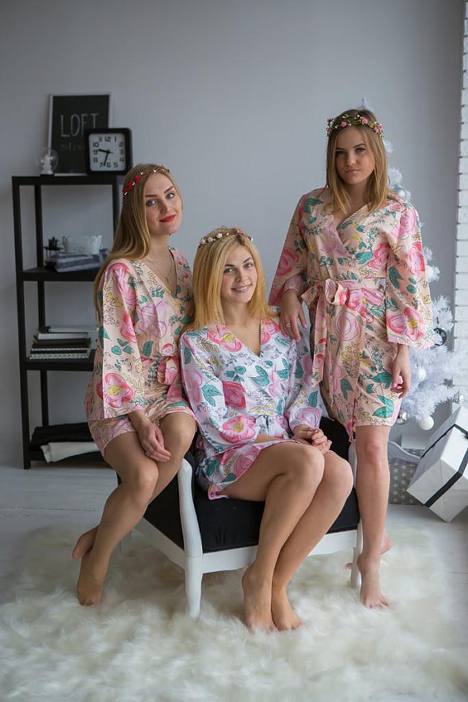 Whimsical Giggle Pattern- Premium Blush Bridesmaids Robes
