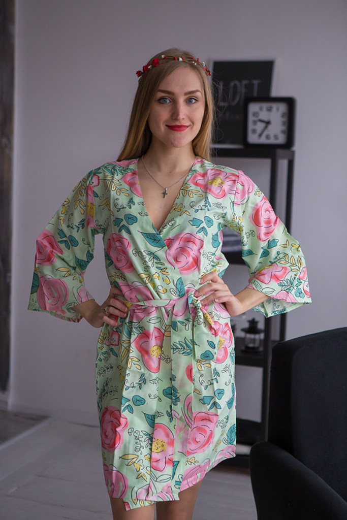 Whimsical Giggle Pattern- Premium Mint Bridesmaids Robes