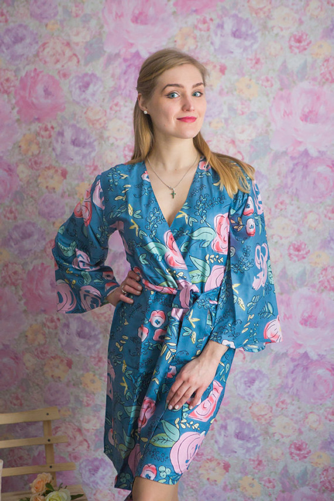 Whimsical Giggle Pattern- Premium Dusty Blue Bridesmaids Robes