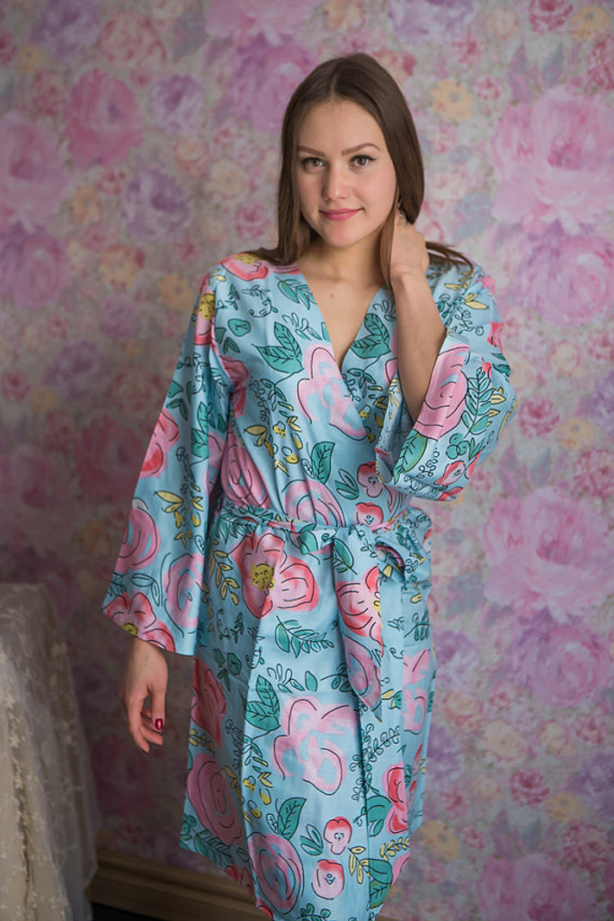 Whimsical Giggle Pattern- Premium Light Blue Bridesmaids Robes