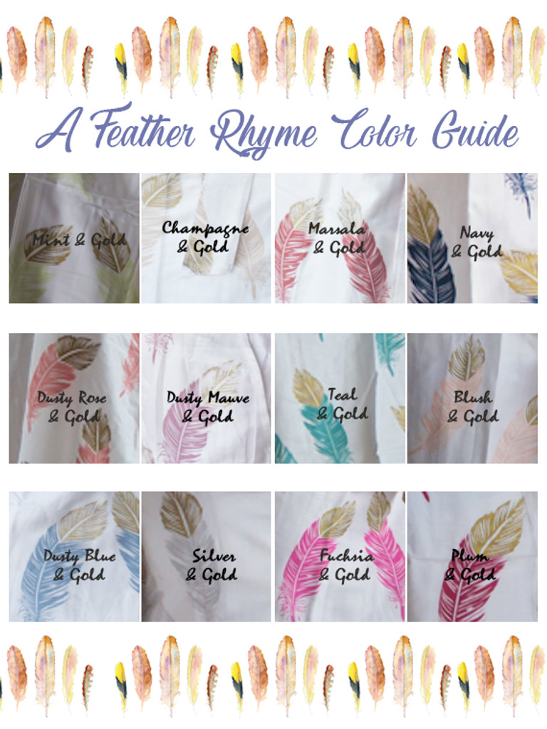 A feather rhyme Pattern- Premium Marsala Gold Bridesmaids Robes