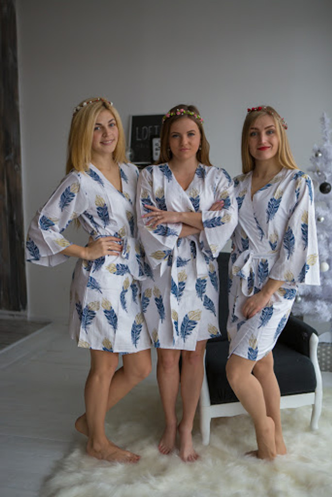A feather rhyme Pattern- Premium Navy Blue Gold Bridesmaids Robes