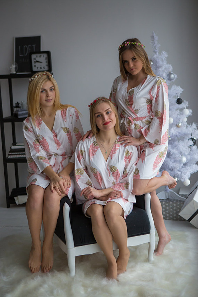 A feather rhyme Pattern- Premium Dusty Rose Gold Bridesmaids Robes