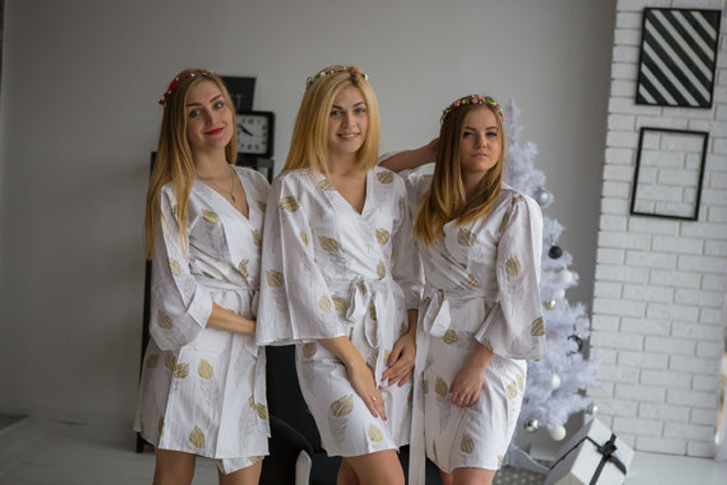 A feather rhyme Pattern- Premium Silver Gold Bridesmaids Robes