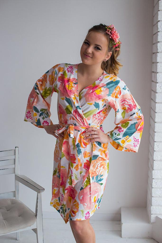 Her Petal Garden Pattern- Premium Navy Blue Bridesmaids Robes