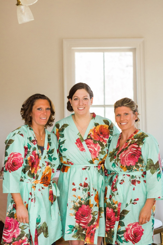 Mint Large Floral Blossom Robes for bridesmaids | Getting Ready Bridal Robes