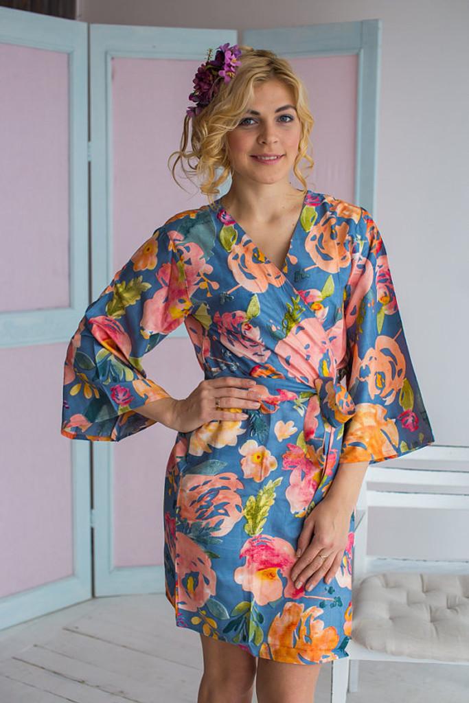 Her Petal Garden Pattern- Premium Dusty Blue Bridesmaids Robes