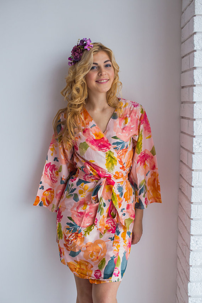 Her Petal Garden Pattern- Premium Blush Bridesmaids Robes