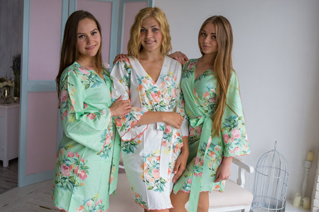 Premium Scalloped Trim Bridesmaids Robes - Mint Angel Song