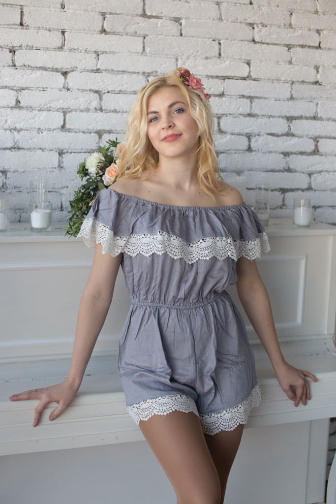 Off the shoulder Style Mismatched Bridesmaids Rompers in Solid Lace