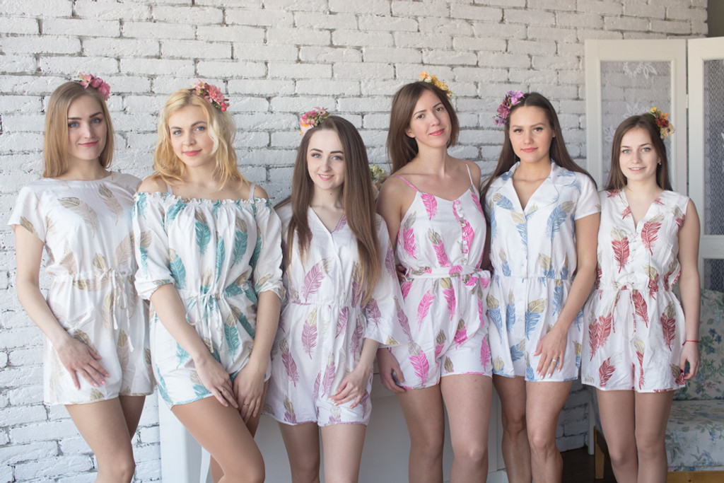 Mismatched Bridesmaids Rompers in A Feather Rhyme Pattern