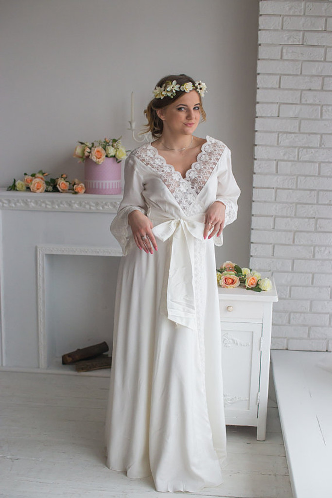 Lace Trimmed Bridal Robe from my Paris Inspirations Collection - V-Back in White