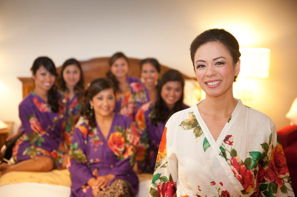 Purple Large Floral Blossom Robes for bridesmaids | Getting Ready Bridal Robes