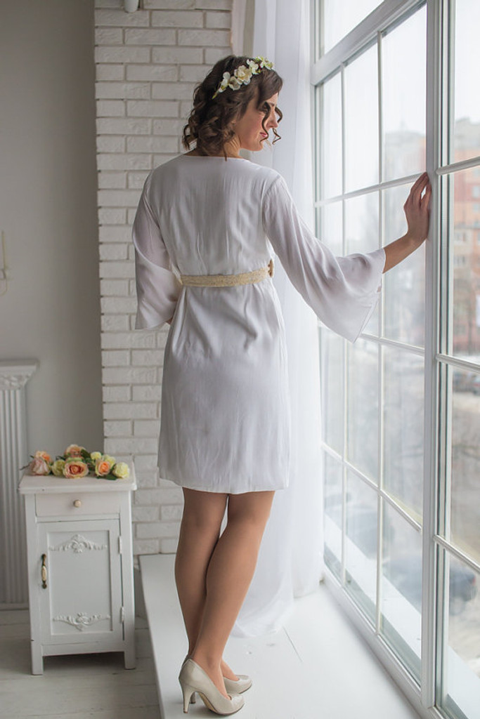 All White Bridal Robe from my Paris Inspirations Collection - Rosette Robe in White