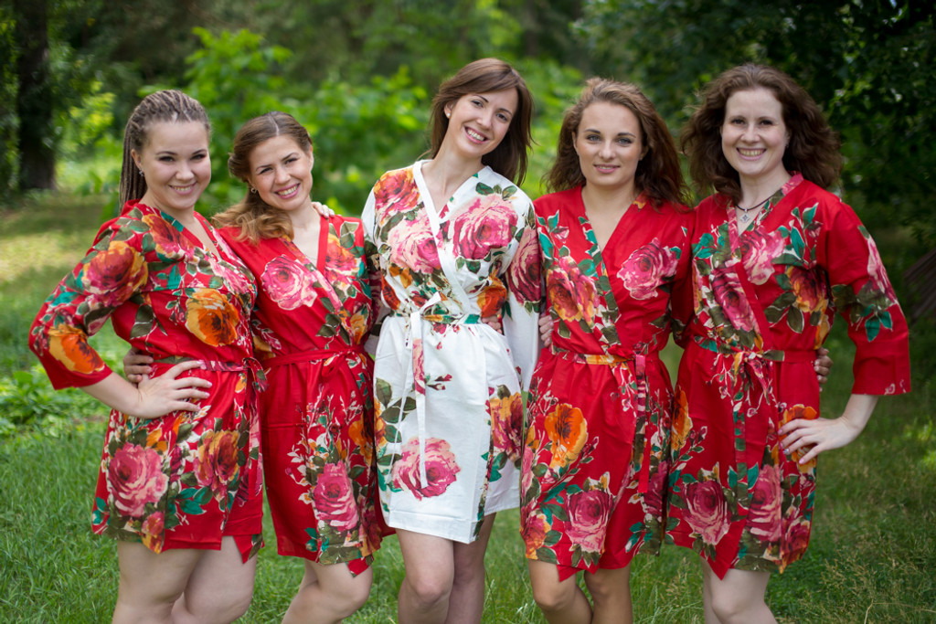 Red Large Floral Blossom Robes for bridesmaids | Getting Ready Bridal Robes