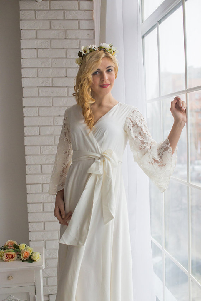 All White Bridal Robe from my Paris Inspirations Collection - Statement Sleeves in White