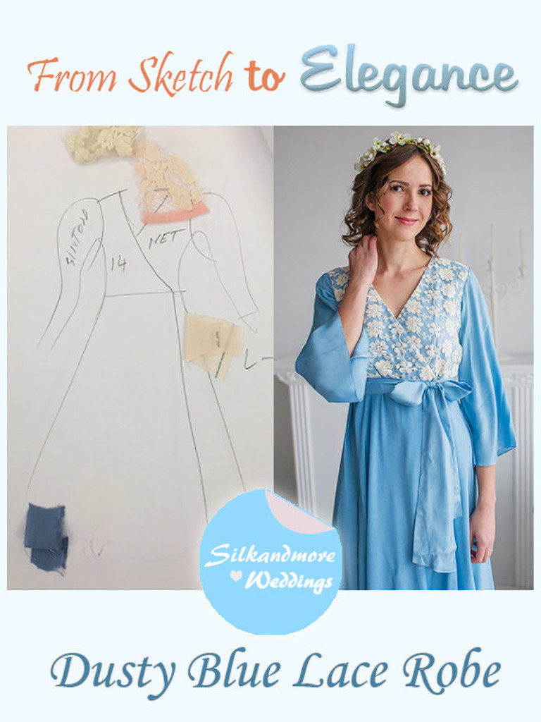 Dusty Blue Bridal Robe from my Paris Inspirations Collection - Lacey Silk in Dusty Blue