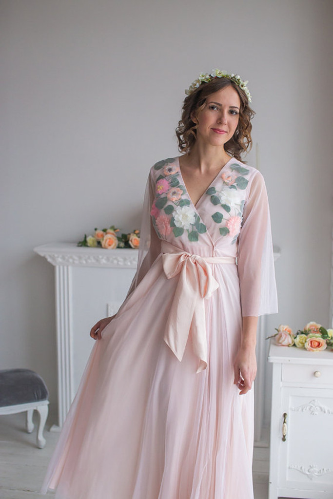 Bridal Robe from my Paris Inspirations Collection - Shy Flowers in Blush