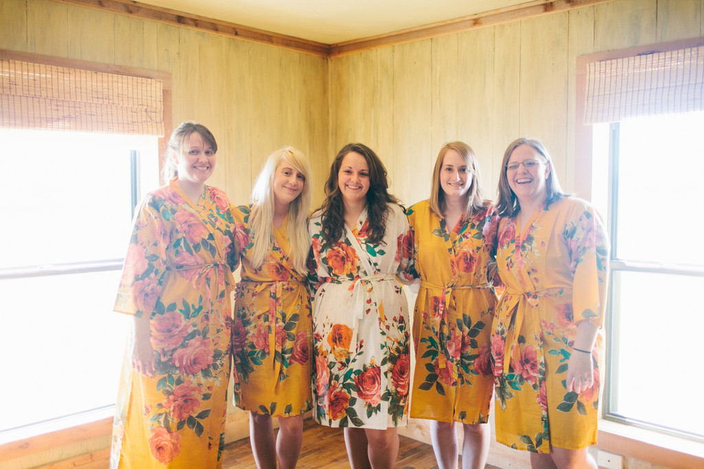 Yellow Large Floral Blossom Robes for bridesmaids | Getting Ready Bridal Robes