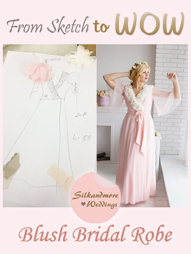Blush Tulle Lace Bridal Robe from my Paris Inspirations Collection - Flower Grace in Blush