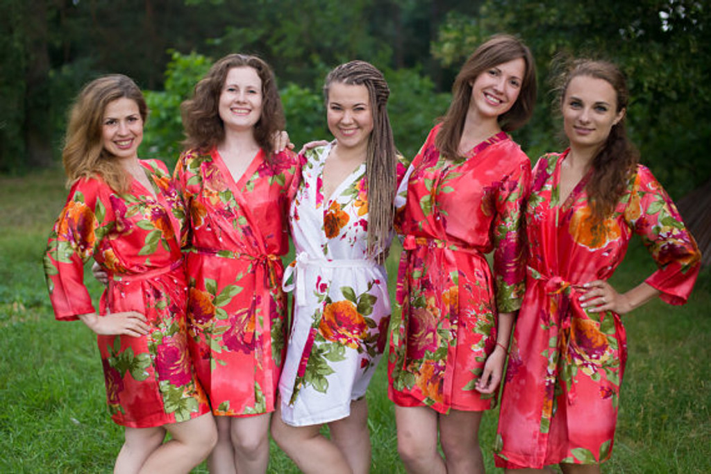 Coral Large Floral Blossom Silk Bridesmaids robes