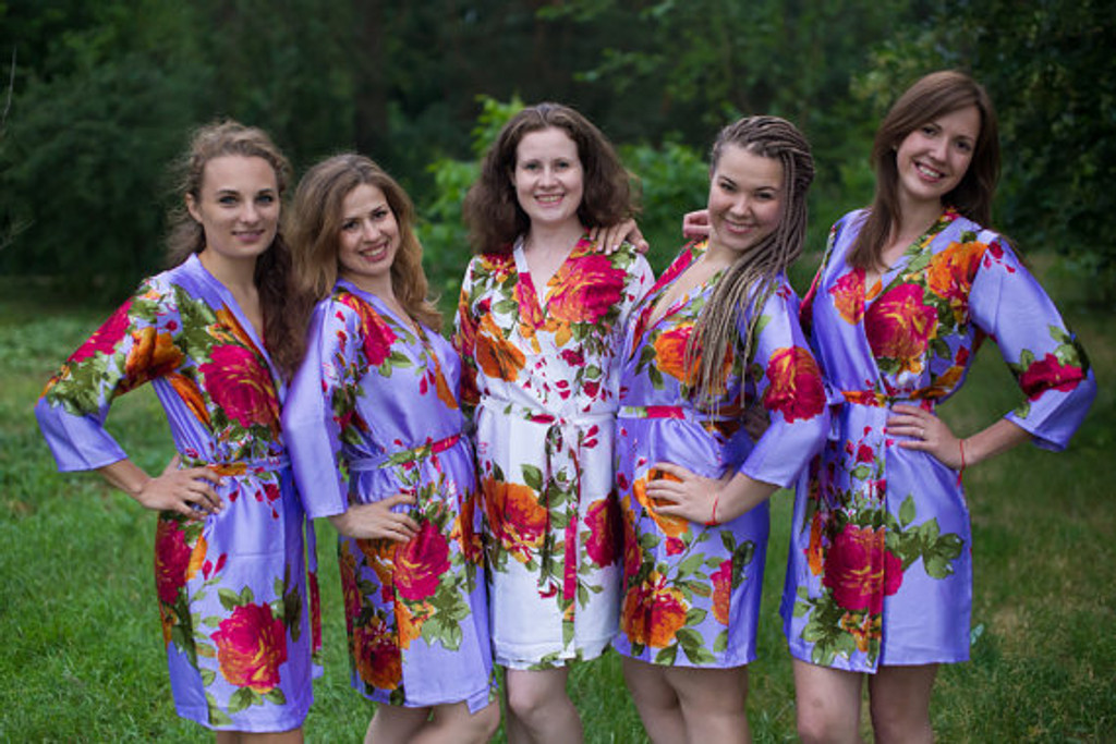 Lilac Large Floral Blossom Silk Bridesmaids robes