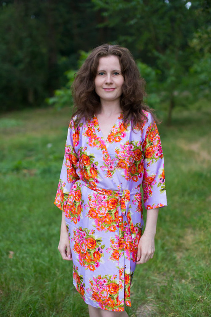 Lilac Floral Posy Silk Bridesmaids robes