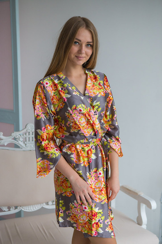Charcoal Gray Floral Posy Silk Bridesmaids robes