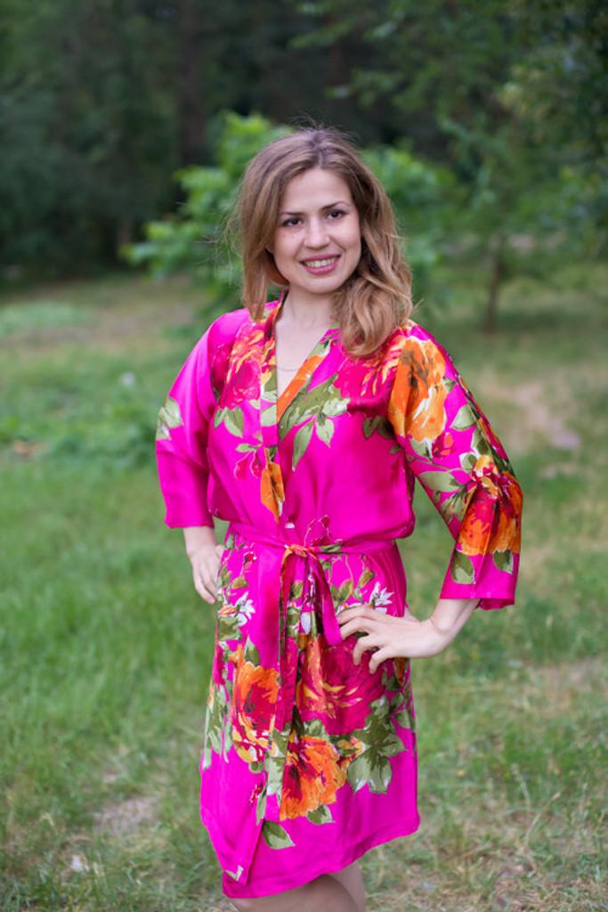 Magenta Large Floral Blossom Silk Bridesmaids robes