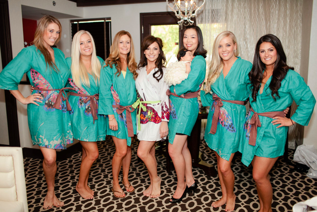 Teal Big Butterfly themed wedding Robes for bridesmaids | Getting Ready Bridal Robes