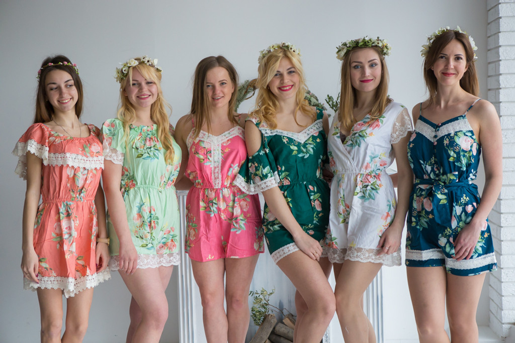 Lace Trimmed Mistmatched Bridesmaids Rompers in Dreamy Angel Song Pattern