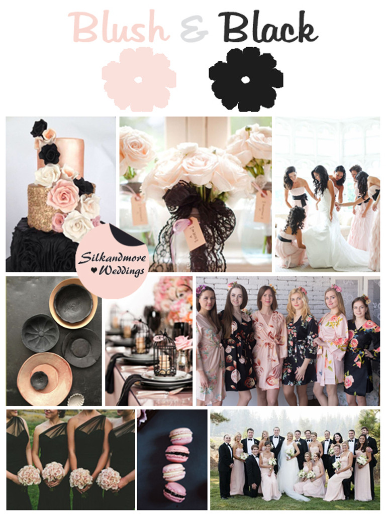 Blush & Black Wedding Color Robes - Premium Rayon Collection