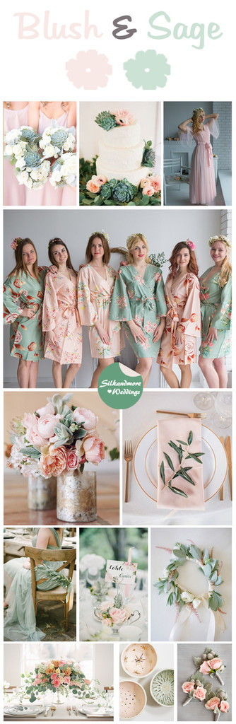 Blush and Sage Wedding Color Robes - Premium Rayon Collection