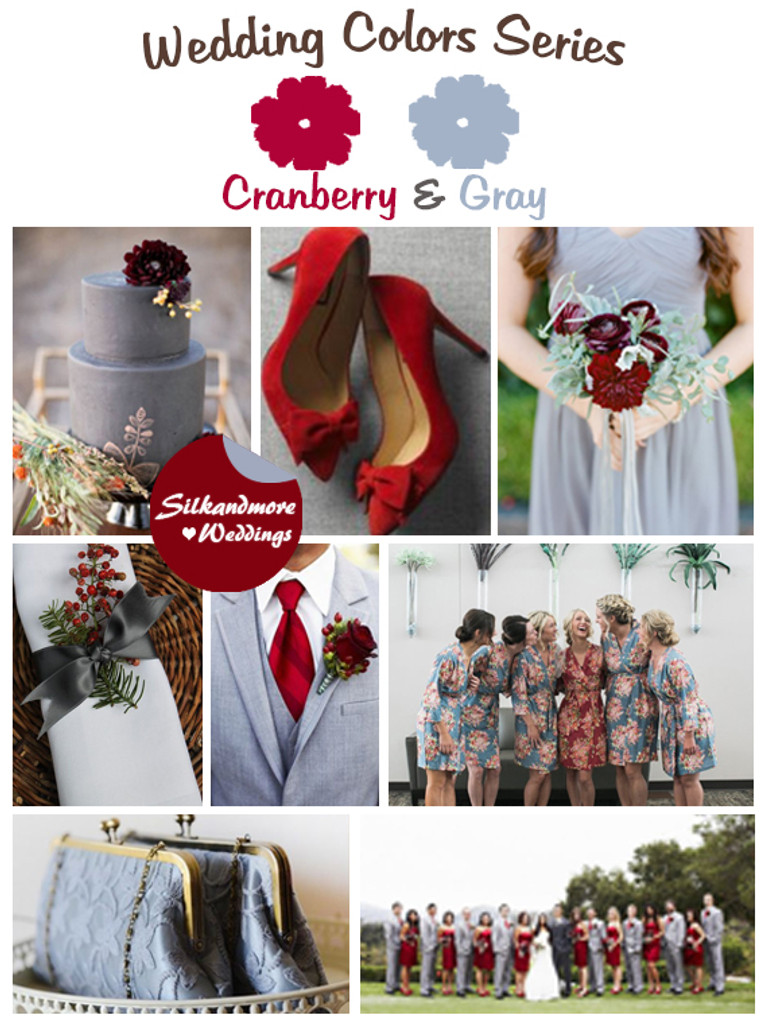Cranberry and Gray Wedding Colors Palette