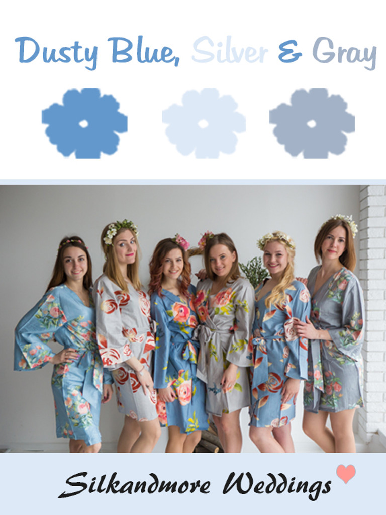 Dusty Blue, Silver and Gray Wedding Color Robes - Premium Rayon Collection