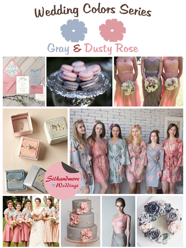 Gray and Dusty Rose Wedding Colors Palette