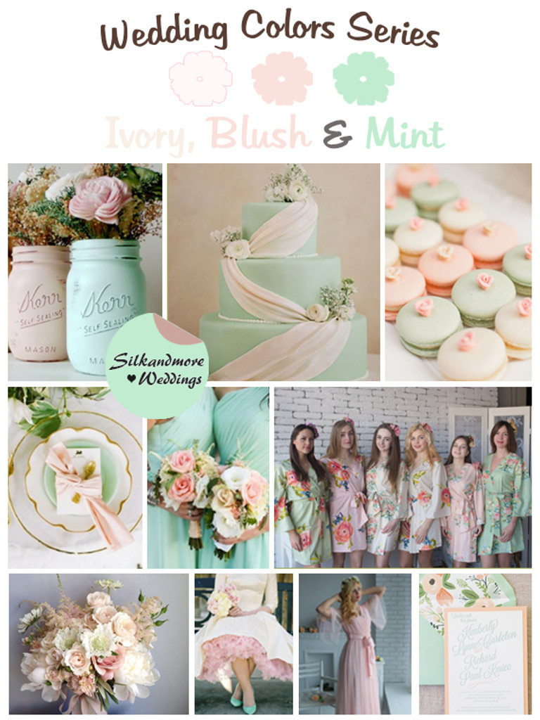 Ivory, Blush and Mint Wedding Colors Palette
