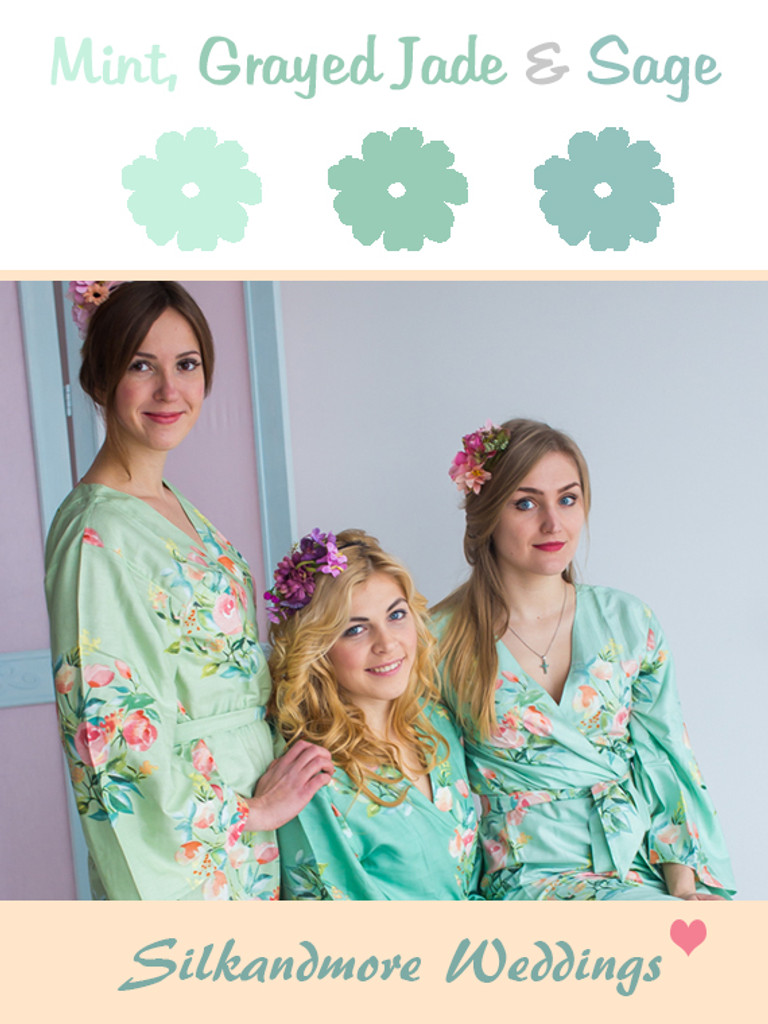 Mint, Grayed Jade and Sage Wedding Color Robes - Premium Rayon Collection