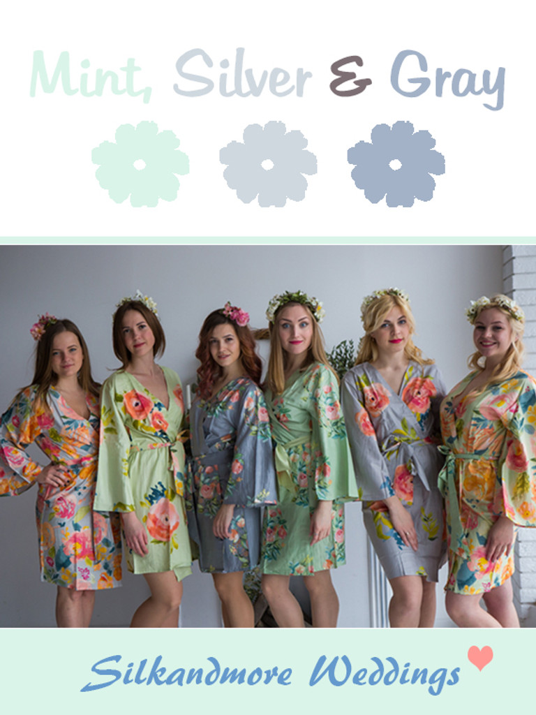 Mint, Silver and Gray Wedding Color Robes - Premium Rayon Collection