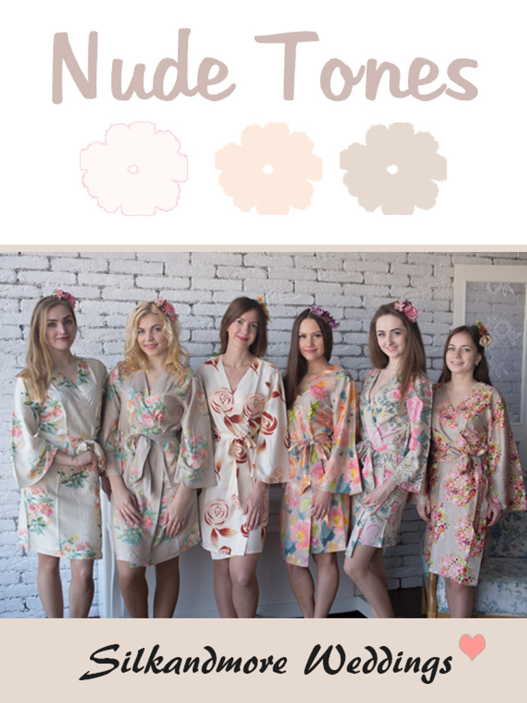 Nude Tones Wedding Color Robes - Premium Rayon Collection