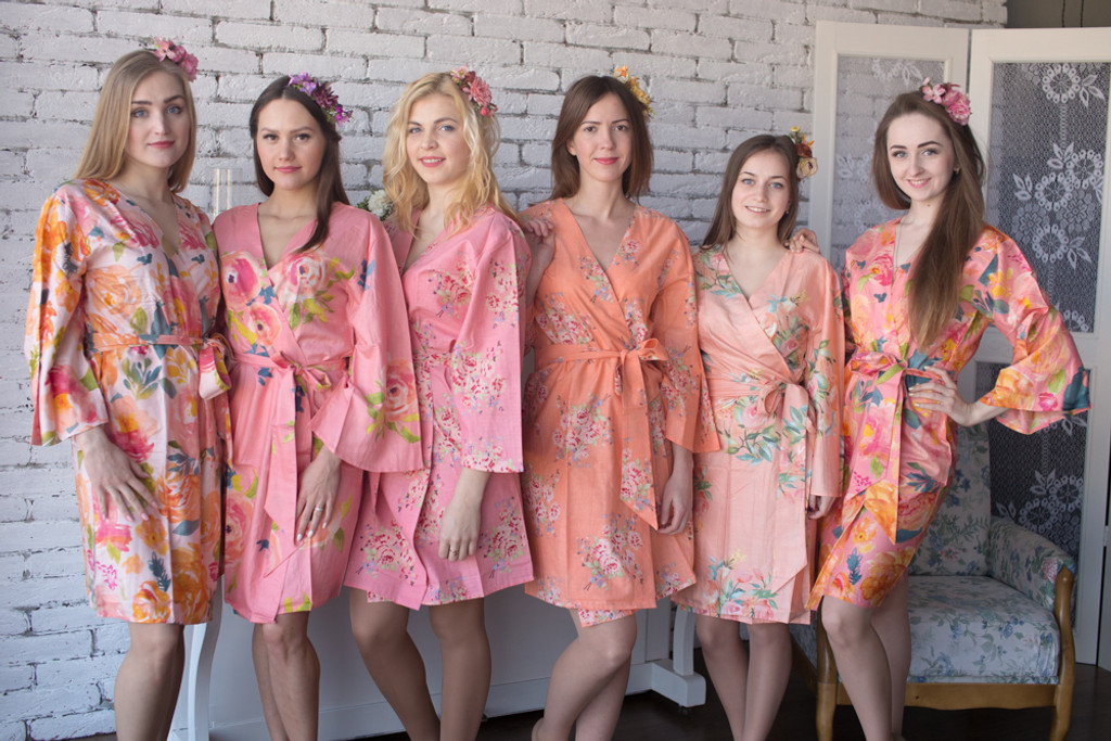 Peach and Rose Pink Wedding Color Robes - Premium Rayon Collection