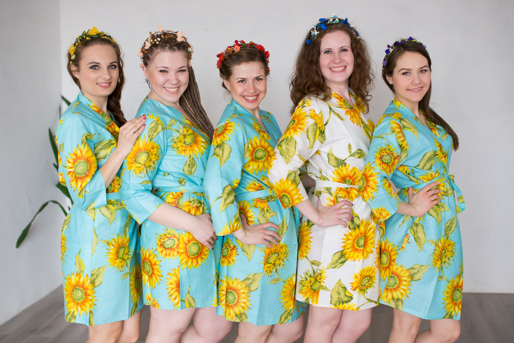 Light Blue Sunflower Robes for bridesmaids | Getting Ready Bridal Robes