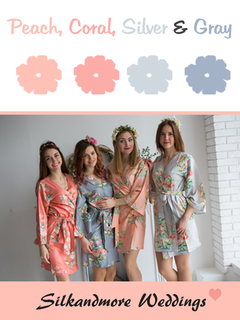 Peach, Coral, Silver and Gray Wedding Color Robes - Premium Rayon Collection
