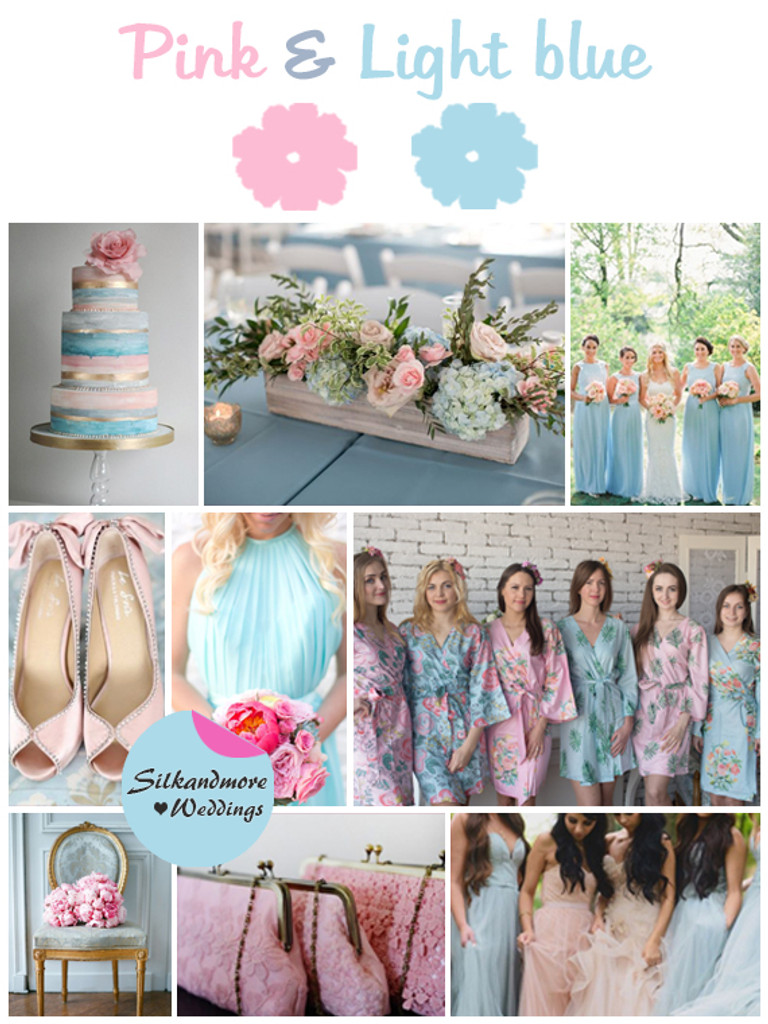 Pink and Light Blue Wedding Color Robes - Premium Rayon Collection