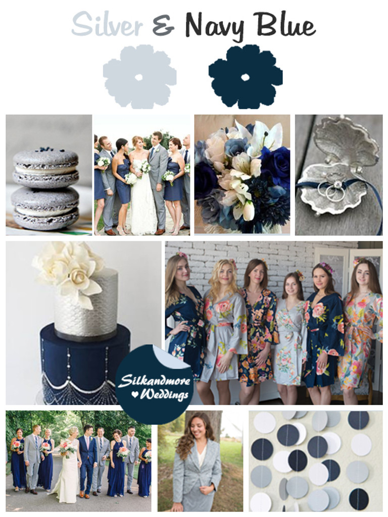 Silver and Navy Blue Wedding Color Robes - Premium Rayon Collection
