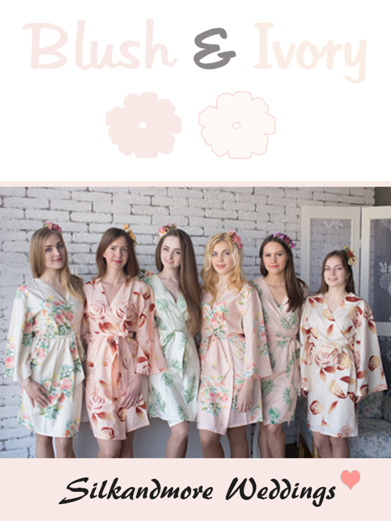 Blush and Ivory Wedding Color Robes - Premium Rayon Collection