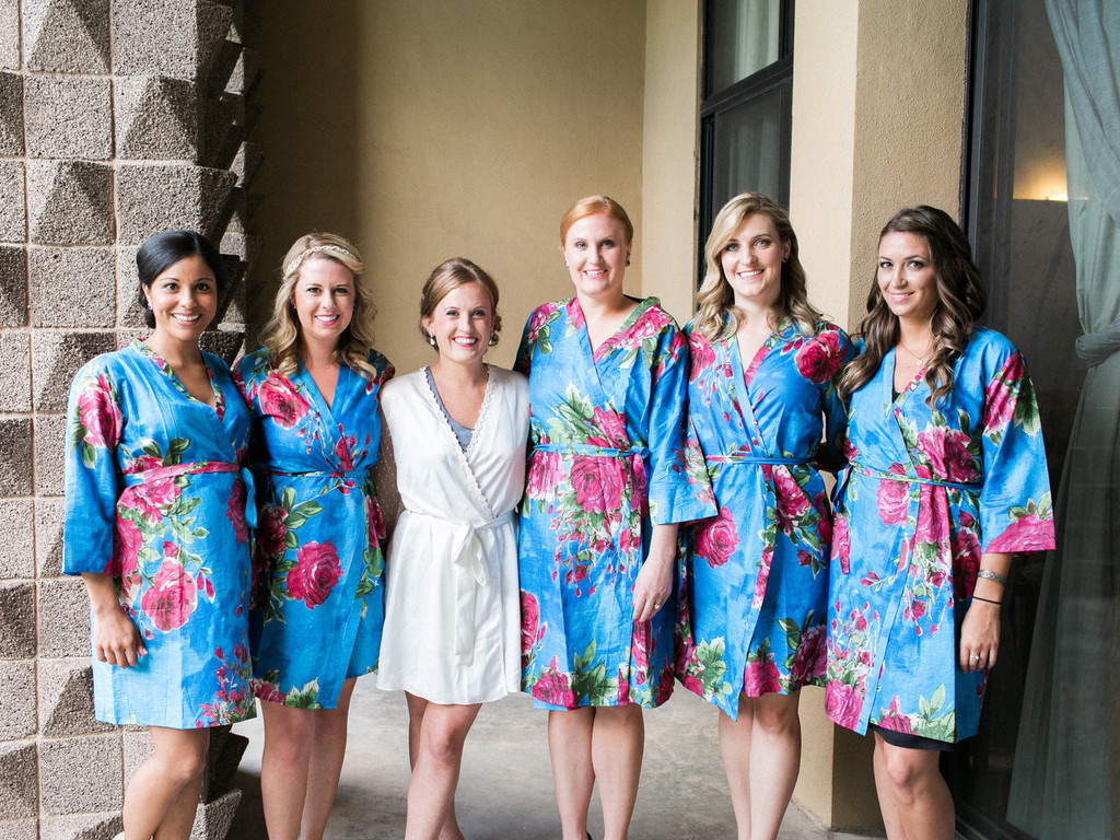 Cobalt Blue Large Fuchsia Floral Blossoms Robes for bridesmaids | Getting Ready Bridal Robes
