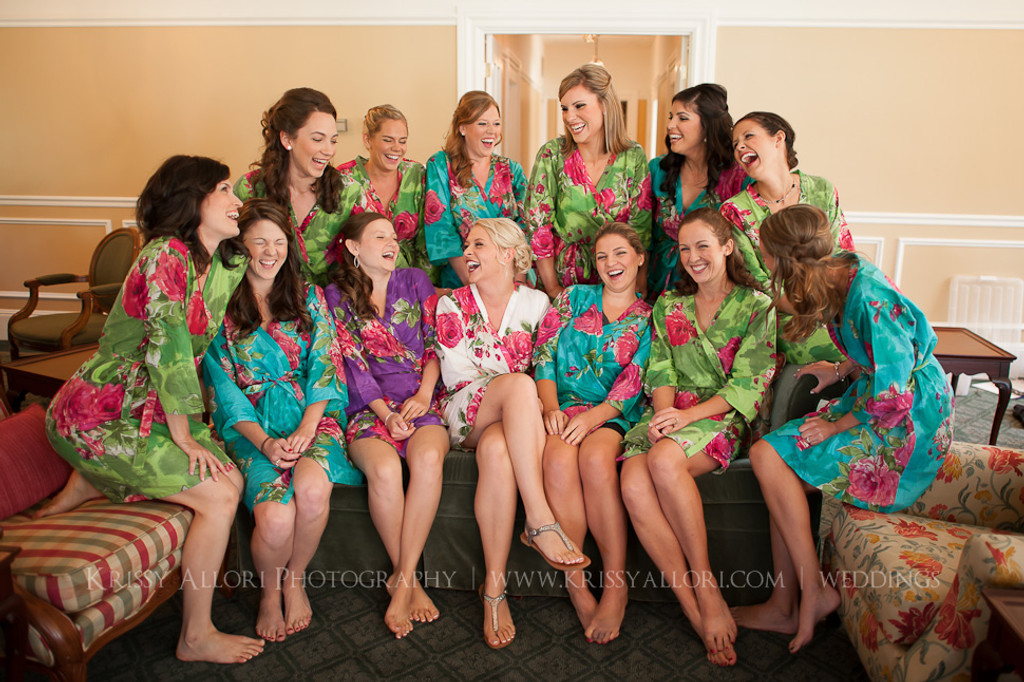 Green Large Fuchsia Floral Blossoms Robes for bridesmaids | Getting Ready Bridal Robes
