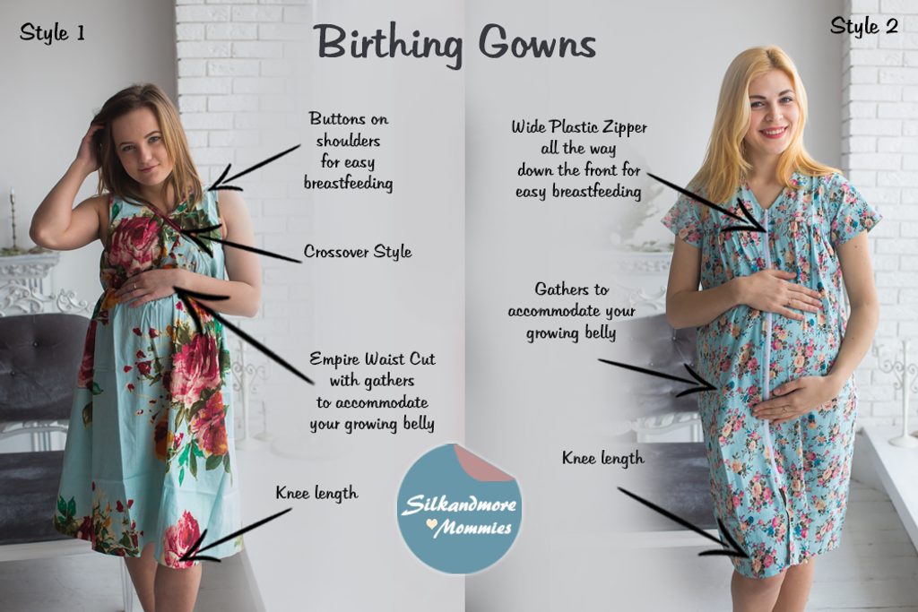 Light Blue Birthing Gowns